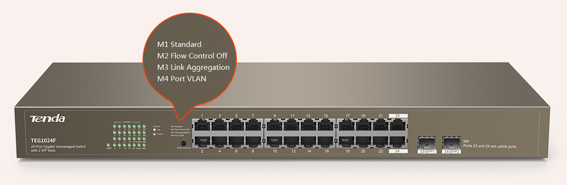 Tenda TEG1024F 24-Port Gigabit Unmanaged Switch with 2 SFP Slots