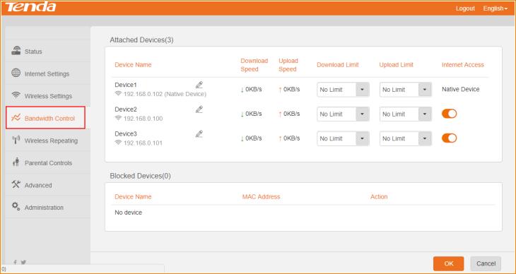 limit daownload router tenda f3