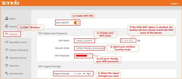 WiFi Settings-Tenda-All For Better NetWorking